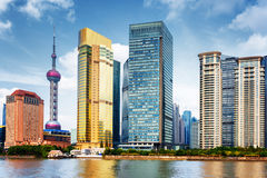 View of skyscrapers in business center of Shanghai, China Stock Photos