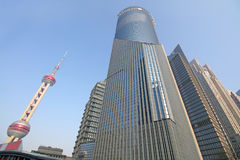 View of skyscrapers in city business center on waterfront of the Huangpu River in Shanghai China. Stock Photo