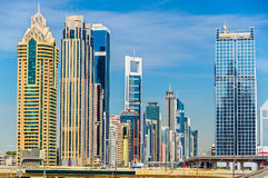View of skyscrapers in Downtown Dubai - UAE Royalty Free Stock Images