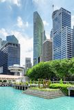 View of skyscrapers at downtown of Singapore. Summer cityscape. Amazing view of skyscrapers at downtown and azure water of Marina Bay in Singapore. Modern high stock photography