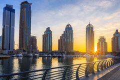 View of Skyscrapers in Dubai Marina at sunrise Royalty Free Stock Photo