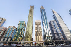 View of skyscrapers and Dubai Metro along Sheikh Zayed Road Royalty Free Stock Photo