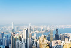 View of skyscrapers in Hong Kong city Royalty Free Stock Photos