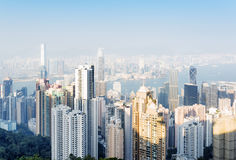 View of skyscrapers in Hong Kong city from the Victoria Peak Royalty Free Stock Images