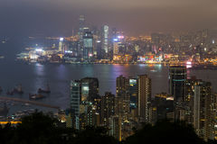 View of skyscrapers on Hong Kong Island and Kowloon at night Royalty Free Stock Image