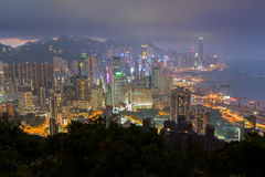 View of skyscrapers on Hong Kong Island at night Royalty Free Stock Photos