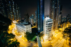 View of skyscrapers and Pok Fu Lam Road at night, from Hong Kong royalty free stock photos