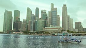 View of the skyscrapers of Singapore on a cloudy day stock video footage