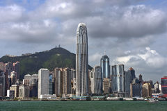 View of skyscrapers from Victoria Harbor, Hong Kong Royalty Free Stock Photo