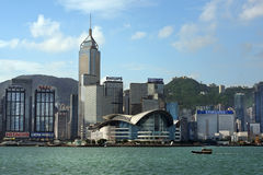 View of skyscrapers from Victoria Harbor, Hong Kong Stock Photo