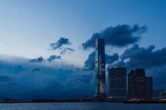 View of the skyscrapper in Hong Kong. The highest building in Hong Kong in the dusk Stock Photo
