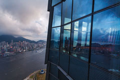 View from the skyscrapper on Victoria Harbour Royalty Free Stock Photos