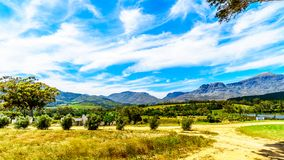 View of the Slanghoekberge Mountain Range along which the Bainskloof Pass runs between the towns Ceres and Wellington. In the Western Cape province in South Royalty Free Stock Photography