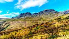 View of the Slanghoekberge Mountain Range along which the Bainskloof Pass runs between the towns Ceres and Wellington. In the Western Cape province in South Royalty Free Stock Images