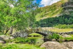 A view of Slater`s bridge in the English Lake District. stock photos
