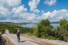 Admiring the view at Slatine village in Croatia. Europe. stock image