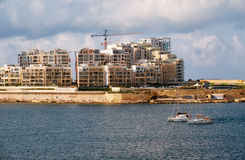The view of Sliema city skyline from Valletta across Marsamxett Stock Image