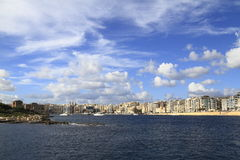 View of Sliema, Malta. View of Sliema and boats in Sliema Creek, Malta Stock Photography