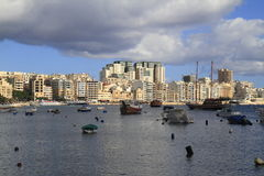 View of Sliema, Malta. View of Sliema and boats in Sliema Creek, Malta Stock Images