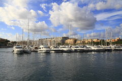 View of Sliema, Malta. View of Sliema and boats in Sliema Creek, Malta Royalty Free Stock Images