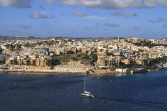 View of Sliema, Malta. View of Sliema and boats in Sliema Creek, Malta Royalty Free Stock Photo