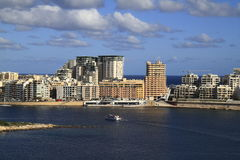 View of Sliema, Malta. View of Sliema and boats in Sliema Creek, Malta Stock Photos