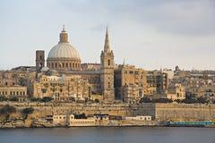 Valletta Skyline, Malta. View from Sliema to Valletta in the last evening light Stock Photography