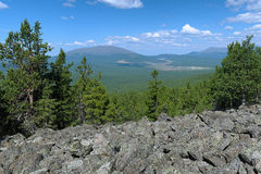 View from the slope of Third Bugor Mount, Northern Ural Stock Image