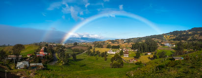 View from slope of volcano of Irazu. Green meadows and rainbow. View from slope of volcano of Irazu to the valley. Costa Rica Stock Photo
