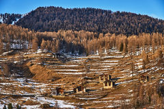 View of the slopes of the mountains of Pejo, Italy Stock Image
