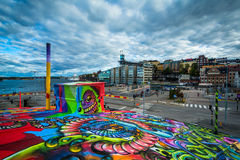 View of Slussen and graffiti on a building in, Södermalm, Stock Stock Photography