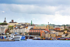 View of Slussen region in Stockholm royalty free stock photo