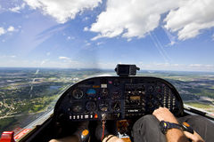 View from small aircraft taking off from runway Royalty Free Stock Image