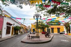 Small plaza in Getsemani, Cartagena. View of a small colorful plaza tucked away in the Getsemani neighborhood of Cartagena, Colombia royalty free stock photo