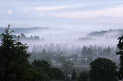 View of the small Finnish town in fog Stock Photography