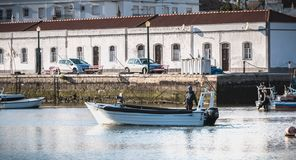 View of the small fishing ports of Tavira, portugal stock photo