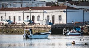 View of the small fishing ports of Tavira, portugal royalty free stock images