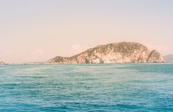 View On Small Greek Island Marathonisi royalty free stock photo