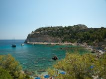 A small gulf with clear water, Rhodos. A view on small gulf with clear water, Rhodos, Greece royalty free stock photo