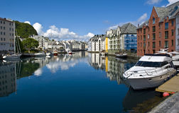 View on small harbour in Alesund, Norway Stock Image