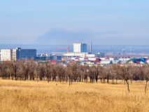 View of a small industrial city. In the North Caucasus, Stavropol region, Russia royalty free stock photos