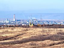 View of a small industrial city. In the North Caucasus, Stavropol region, Russia stock images