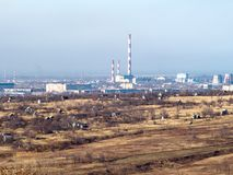 View of a small industrial city. In the North Caucasus, Stavropol region, Russia stock photo