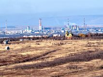 View of a small industrial city. In the North Caucasus, Stavropol region, Russia royalty free stock photography