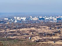View of a small industrial city. In the North Caucasus, Stavropol region, Russia royalty free stock photo