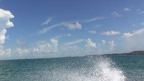 View on small islands during speed boat ride in Atlantic Ocean, Bahamas. Gorgeous nature backgrounds stock video footage