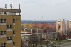 View of small and large apartment buildings. Stock Photos