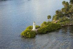 View of the small lighthouse at the end of Harbour Island in Tampa, Florida.  stock photo