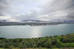 View of Akureyri through fjord, Iceland Royalty Free Stock Photography