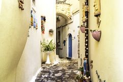 Colorful Paths in Sperlonga, Italy Royalty Free Stock Photos